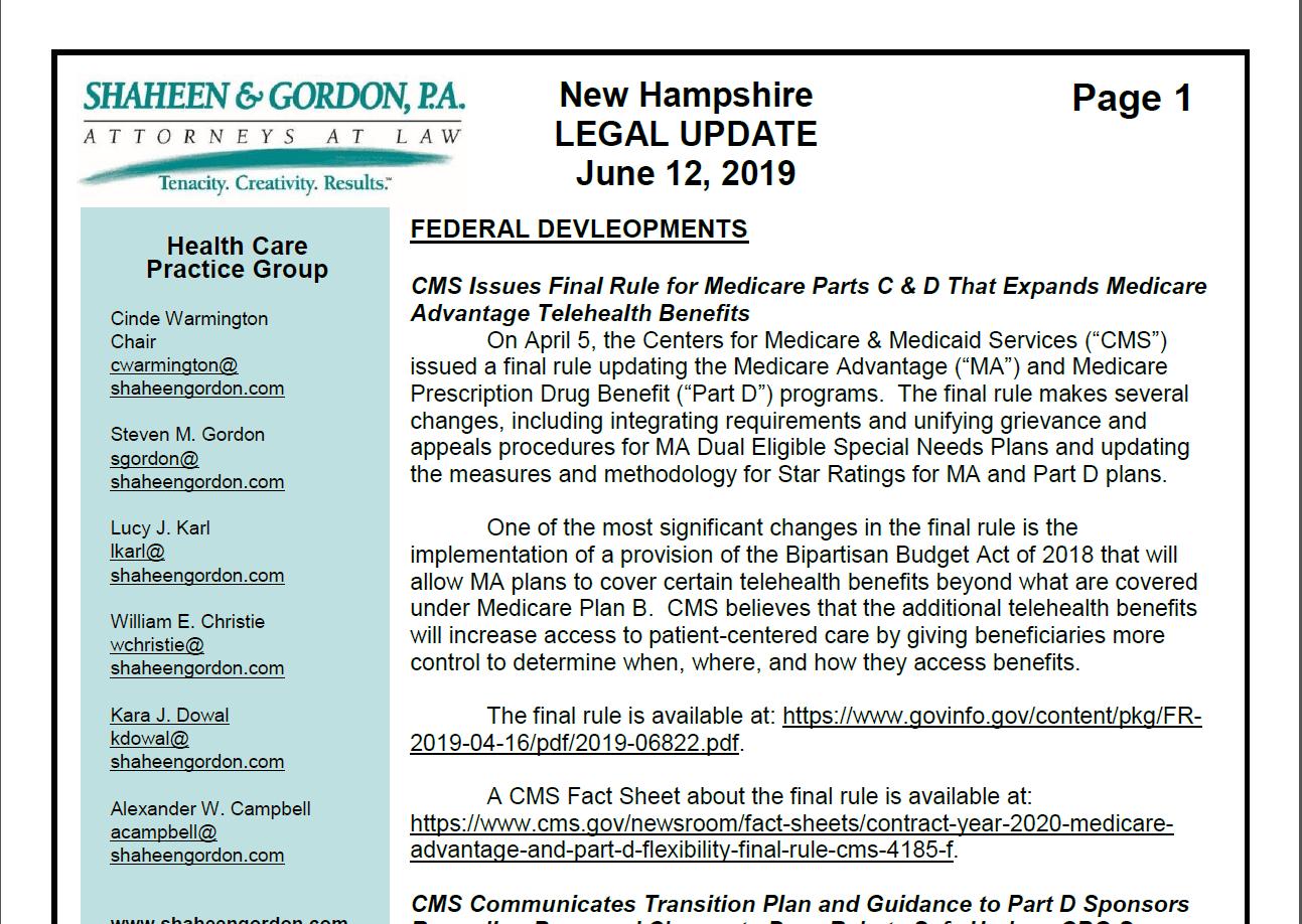 June 2019 Health Care Legal Update